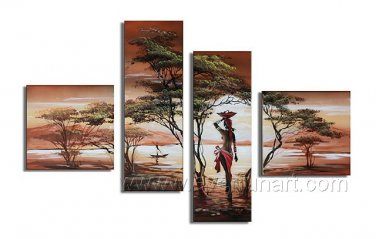 Black Woman and Tree_Canvas Oil Painting Framed African Art (+ Frame) AR-018