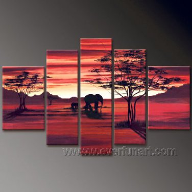Summer African Scenery And Elephant_Canvas Oil Painting Framed African Art (+ Frame) AR-037
