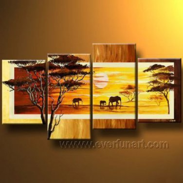 Great Scenery_Canvas Oil Painting Framed African Art (+ Frame) AR-043