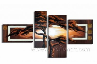 Group Painting Of Tree_Canvas Oil Painting Framed African Art (+ Frame) AR-050