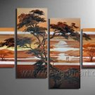 Red Sunset African Art_Canvas Oil Painting Framed African Art (+ Frame) AR-052
