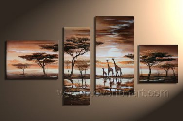 Group Oil Paintings Tree And Animals_Canvas Oil Painting Framed African Art (+ Frame) AR-057