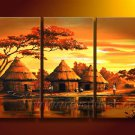 Houses Of African People_Canvas Oil Painting Framed African Art (+ Frame) AR-066