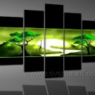 Green Tree Group Painting_Canvas Oil Painting Framed African Art (+ Frame) AR-069
