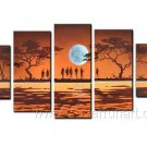 Meeting Under Moon_Canvas Oil Painting Framed African Art (+ Frame) AR-073