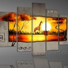 HOT SELL Group Painting_Canvas Oil Painting Framed African Art (+ Frame) AR-080