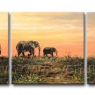 The Family Of Elephant_Canvas Oil Painting Framed African Art (+ Frame) AR-090