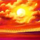 Orange Sun Above the Ocean_Framed Oil on Canvas Seascape Painting SE-023