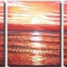 Red Sun Rise From Horizon_Framed Oil on Canvas Seascape Painting SE-024