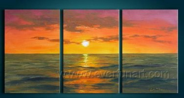 Bright Sunshine Through The Sea_Framed Oil on Canvas Seascape Painting SE-032