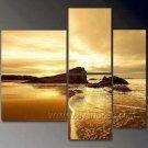 Golden Sea Scene_Framed Oil on Canvas Seascape Painting SE-034