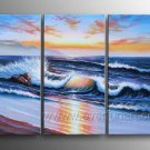 Golden Sun And Ocean_Framed Oil on Canvas Seascape Painting SE-046