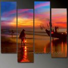 Fisherman in The Sea _Framed Oil on Canvas Seascape Painting SE-082