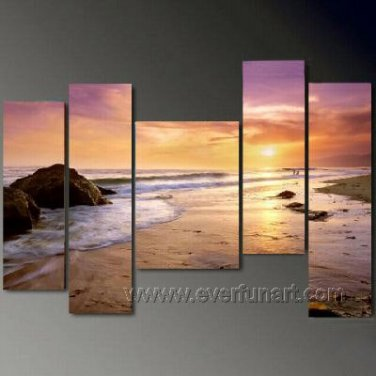 Sun Rise From Horizon ! Framed Oil on Canvas Seascape Painting SE-138