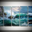 Natural Roaring Waves _Framed Oil on Canvas Seascape Painting SE-148