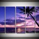 Ocean under the Purple Sky_ Framed Oil on Canvas Seascape Painting SE-157