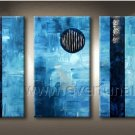 New Style Blue Abstract Oil Painting Canvas Art Wall Pictures (+Framed) XD3-205