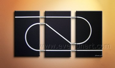 Simple Black And White Abstract Cancas Art Oil Painting Wall Pictures Framed  XD3-207