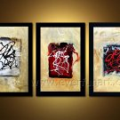 3 Panels Abstract Fine Canvas Art Oil Painting Framed XD3-217