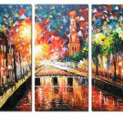 Prosperous Street Landscape Oil Painting On Canvas Wall Art Fremed LA3-131