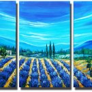 Lavender Soil And Blue Sky Landscape Oil Painting On Canvas Wall Art Fremed LA3-137