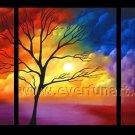 Corlorful Tree Blosson Landscape Oil Painting On Canvas Wall Decor Fine Art LA3-155