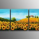 Beautiful Sun Flower Field Landscape Oil Painting On Canvas Wall Decor LA3-176