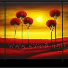 Four Red Trees Under The Sun Landscape Oil Painting On Canvas Wall Art LA3-179