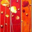 Popular Red Flower Art Modern Group Flower Oil Painting On Canvas With Frame  FL3-160