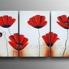 Framed Red Poppies In Garden Floral Art Flowers Oil On Canvas Art Painting FL3-178