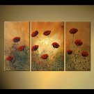 Large Psychedelic Still Life Oil Painting Floral Canvas Art Red Flower FL3-180