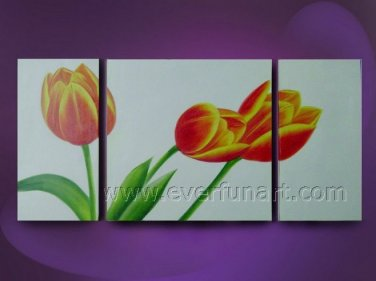 abstract orange tulips flowers large oil painting canvas modern floral art FL3-189