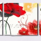 Red Flowers Modern Abstract hand-draw Art Oil Painting flowers 3piece large Canvas framed FL3-203