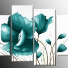 100% Handpainted 4-piece Flower Oil Painting on Canvas Wall Decor Art by Professional Artist FL4-100