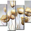 100% Handpainted 4-piece Flower Oil Painting on Canvas Wall Decor Art by Professional Artist FL4-151
