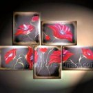 Museum Quality! Hand-painted 5-piece Modern Wall Decor Flower Canvas Art Oil Painting  FL5-070