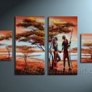 Hand made African tree lover  Abstract landscape Wall Decor Oil Painting on canvas (+Framed) AR-004