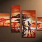 Hand made African lover Abstract landscape Wall Decor Oil Painting on canvas (+Framed) AR-005