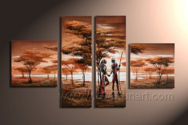 Hand made African Modern landscape Home Decor Oil Painting on canvas (+Framed) AR-007