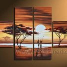 Wooden Framed 4 Panels Handpainted Huge  Wall Art Sunset Tree Oil Painting on Canvas (AR-015)
