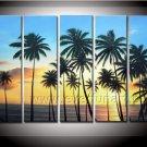 Seaside Coco Tree Landscape Oil Painting (+ Framed) SE-198