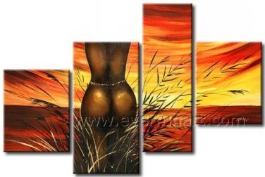 Nude African Women on Canvas Oil Painting (+Framed) AR-155