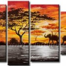African Art Wildlife on Canvas Oil Painting (+Framed) AR-156