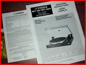 Fisher Model MT-32/MT-32A Operating MANUAL Belt-Drive Semi-Automatic Turntable
