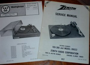 2 BSR SERVICE MANUALS Turntables # RC2 Westinghouse #TC-601 Zenith #169-386