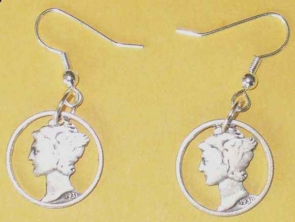 Cut Mercury Silver Dime Earrings