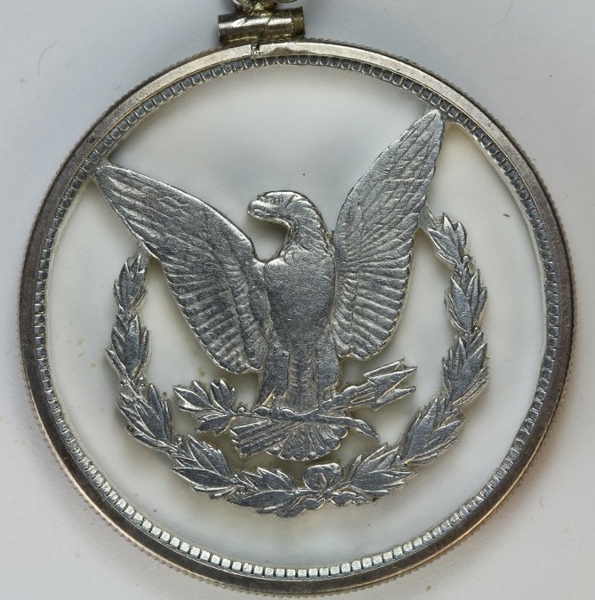 Hand Cut Morgan Silver Dollar coin pendant
