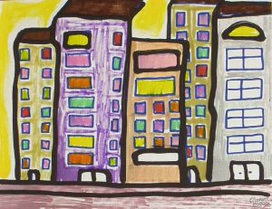 Sweet City Ginamarie Art Cool Abstract Original Signed Painting