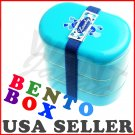 3 Tier NEW Bento Box Lovely Blue w Belt for Japanese Lunch