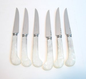 Vintage Sheffield Pearl Handle Knife Set - 6pc - GUC !